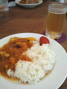 curry and rice and beer