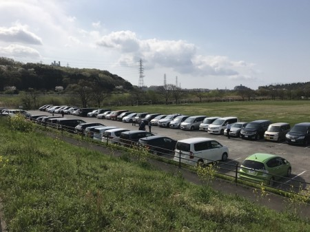 Free parking lot of Hikijigawa Shinsui park in Fujisawa city