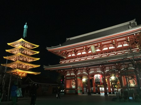 Senso-ji temple and goju-no-tou in the night
