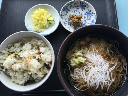 Soba topped with shredded radish and Japanese mixed rice.