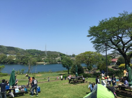 Barbecue at Tsukui lake in Japan