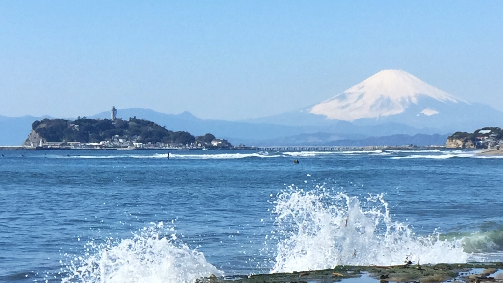 Mt.Fuji and Enoshima island from Inamuragasaki
