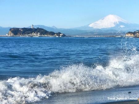 Mt.Fuji and Enoshima island at Inamuragasaki
