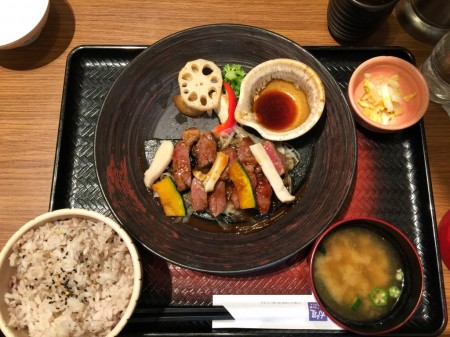 Beef steak & grilled vegetable set meal at Ootoya