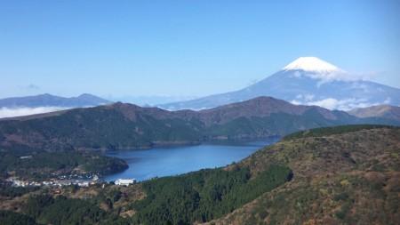 Mount Fuji and lake Ashinoko at hakone