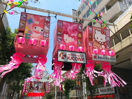 Decoration of Hello Kitty at Hiratsuka Tanabata Festival