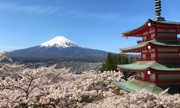 Cherry blossoms,Mt.Fuji and Chureito pagoda Arakurayama Sengen Park