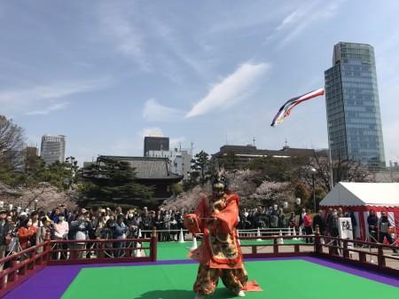 Bugaku dance at Gyoki-daie in Zojoji Temple, Tokyo