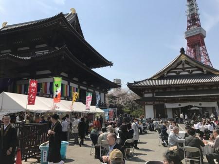 Tokyo tower and food stalls at Zojoji temple in Tokyo