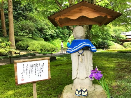 Blue jizo at Meigetsuin in Kamakura