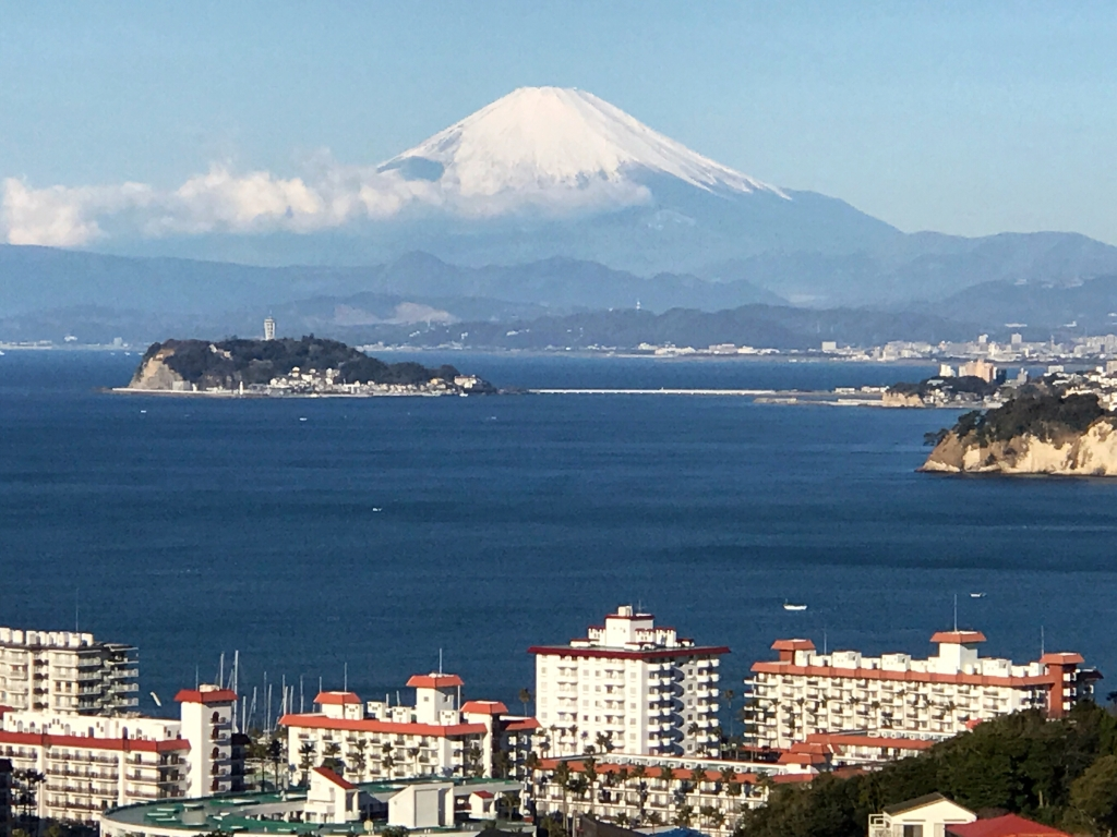 Beautiful view of Mt.Fuji with Sagami Bay from Hiroyama park