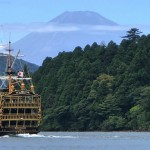 Mount Fuji ,pirate ship and Torii gate in Lake Ashi in Hakone