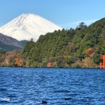 Mount Fuji and Torii gate in Lake Ashi in Hakone
