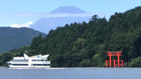 Mount Fuji ,ferry boat and Torii gate in Lake Ashi in Hakone