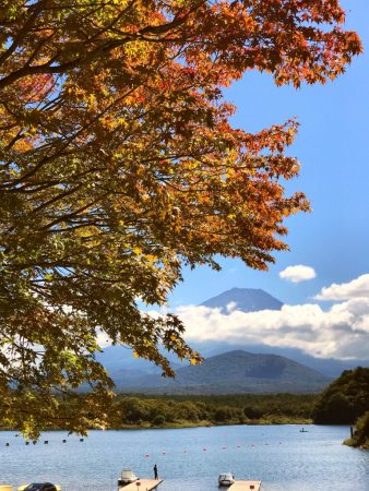 Autumn leaves and Mount Fuji at the lake Shojiko 2018