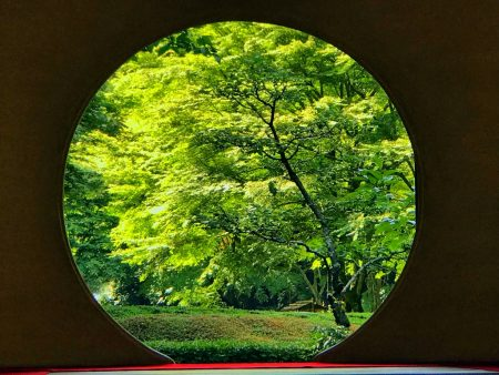 Circular window in the main hall(Hojo) at Meigetsuin in Kamakura